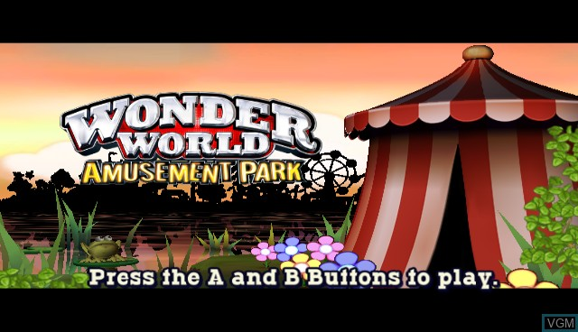 Title screen of the game Wonder World Amusement Park on Nintendo Wii