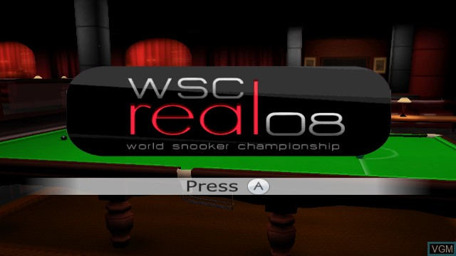 Title screen of the game WSC REAL 08 - World Snooker Championship on Nintendo Wii