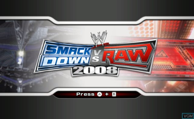 Title screen of the game WWE SmackDown vs. Raw 2008 on Nintendo Wii