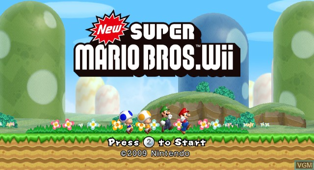 Title screen of the game New Super Mario Bros Wii on Nintendo Wii