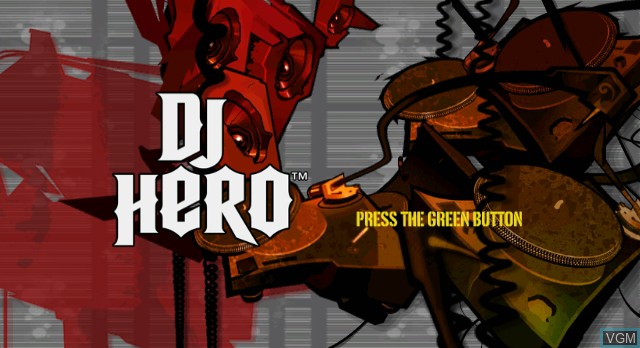 Title screen of the game DJ Hero on Nintendo Wii