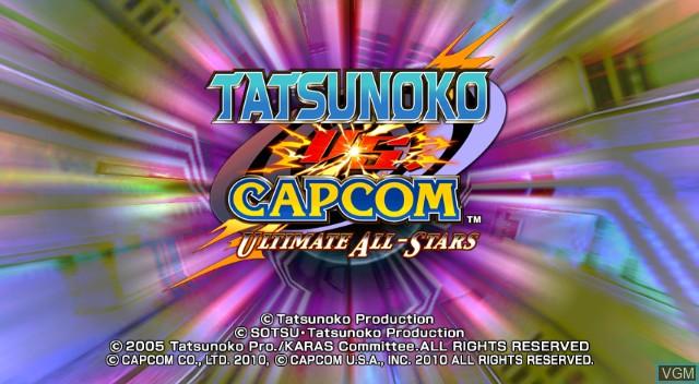 Title screen of the game Tatsunoko Vs. Capcom on Nintendo Wii