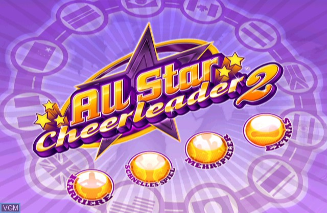 Title screen of the game All Star Cheerleader 2 on Nintendo Wii