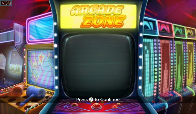 Title screen of the game Arcade Zone on Nintendo Wii