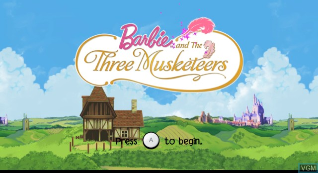 Title screen of the game Barbie and the Three Musketeers on Nintendo Wii