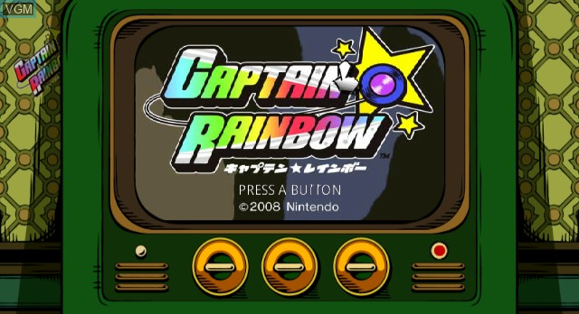 Title screen of the game Captain Rainbow on Nintendo Wii