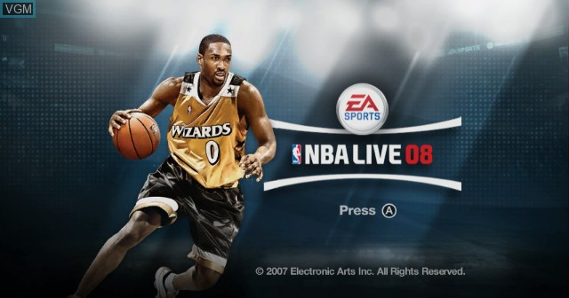 Title screen of the game NBA Live 08 on Nintendo Wii