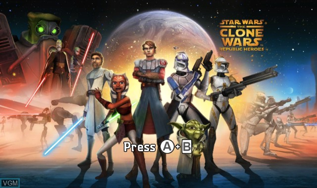 Title screen of the game Star Wars - The Clone Wars - Republic Heroes on Nintendo Wii