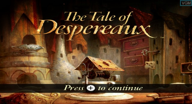 Title screen of the game The Tale of Despereaux on Nintendo Wii