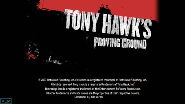 Title screen of the game Tony Hawk's Proving Ground on Nintendo Wii