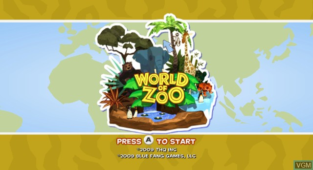 Title screen of the game World of Zoo on Nintendo Wii
