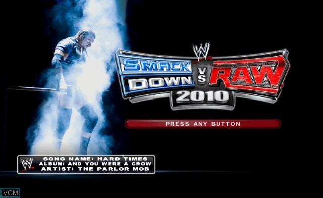 Title screen of the game WWE SmackDown vs. Raw 2010 on Nintendo Wii