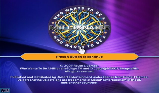 Title screen of the game Who Wants to Be a Millionaire - 1st Edition on Nintendo Wii