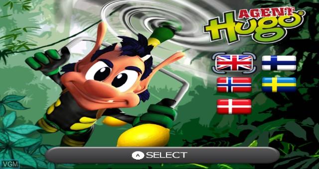 Title screen of the game Agent Hugo - Lemoon Twist on Nintendo Wii