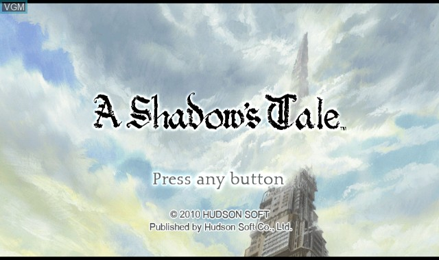 Title screen of the game A Shadow's Tale on Nintendo Wii