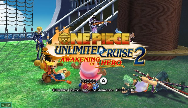 Title screen of the game One Piece Unlimited Cruise 2 - Awakening of a Hero on Nintendo Wii