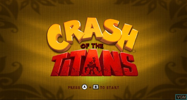 Title screen of the game Crash of the Titans on Nintendo Wii