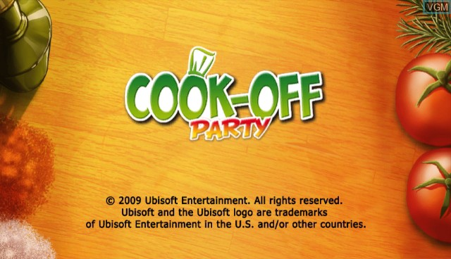 Title screen of the game Cook-off Party on Nintendo Wii