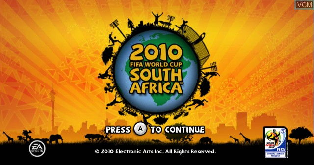 Title screen of the game 2010 FIFA World Cup South Africa on Nintendo Wii