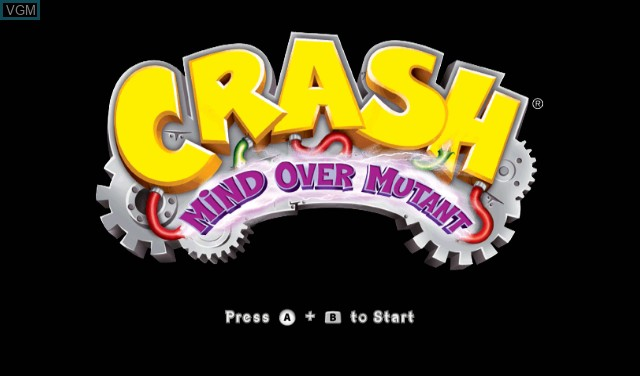 Title screen of the game Crash - Mind Over Mutant on Nintendo Wii