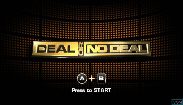 Title screen of the game Deal or No Deal on Nintendo Wii