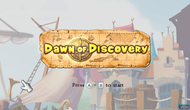 Title screen of the game Dawn of Discovery on Nintendo Wii