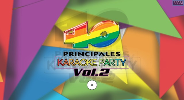 Title screen of the game 40 Principales Karaoke Party Vol. 2 on Nintendo Wii