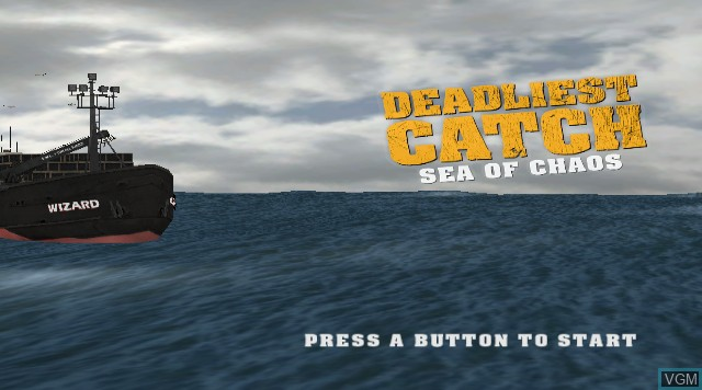 Title screen of the game Deadliest Catch - Sea of Chaos on Nintendo Wii