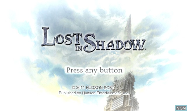 Title screen of the game Lost in Shadow on Nintendo Wii