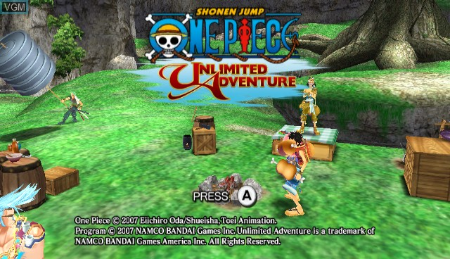 Title screen of the game One Piece - Unlimited Adventure on Nintendo Wii