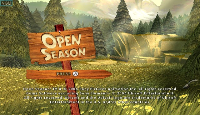 Title screen of the game Open Season on Nintendo Wii