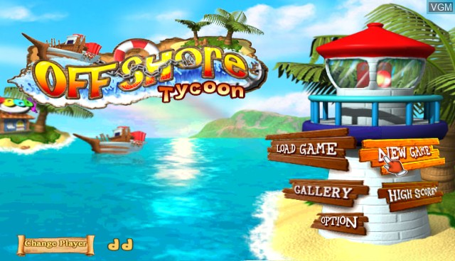 Title screen of the game Offshore Tycoon on Nintendo Wii