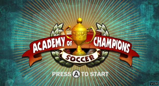 Title screen of the game Academy of Champions - Soccer on Nintendo Wii