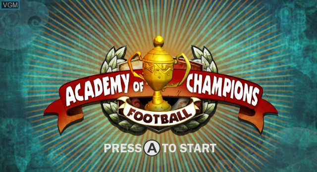 Title screen of the game Academy of Champions - Football on Nintendo Wii