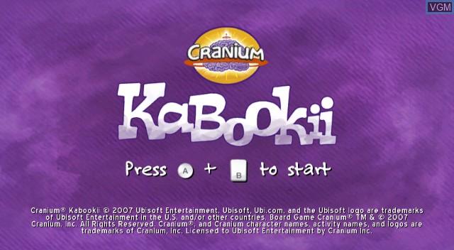 Title screen of the game Cranium Kabookii on Nintendo Wii