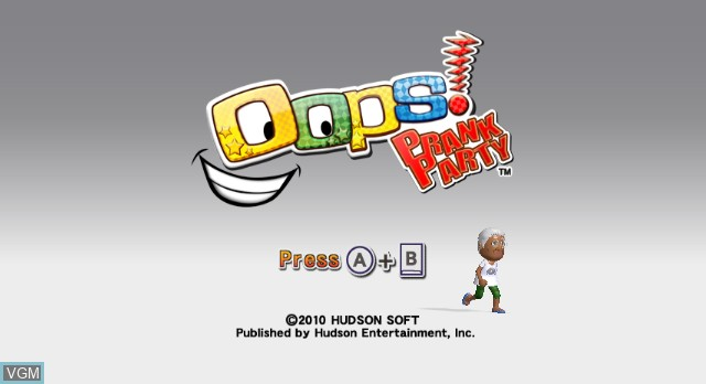 Title screen of the game Oops! Prank Party on Nintendo Wii