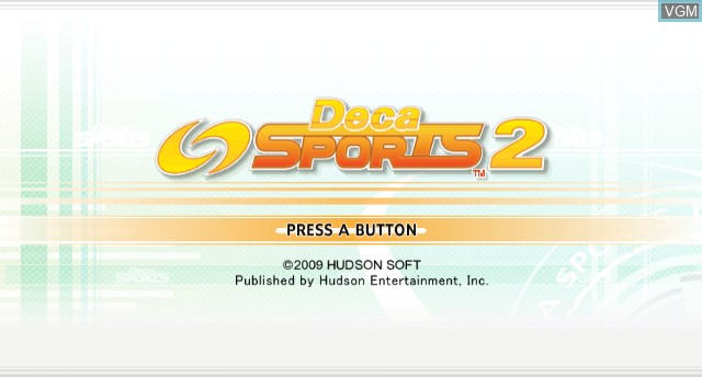 Title screen of the game Deca Sports 2 on Nintendo Wii