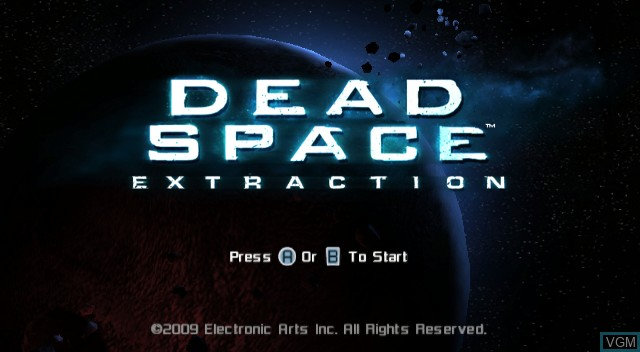 Title screen of the game Dead Space - Extraction on Nintendo Wii