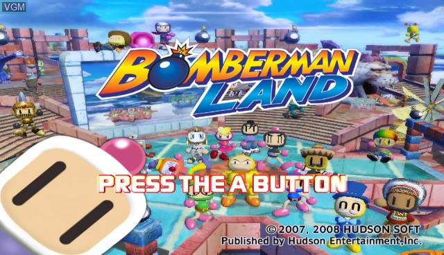 Title screen of the game Bomberman Land on Nintendo Wii