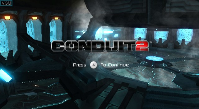 Title screen of the game Conduit 2 on Nintendo Wii