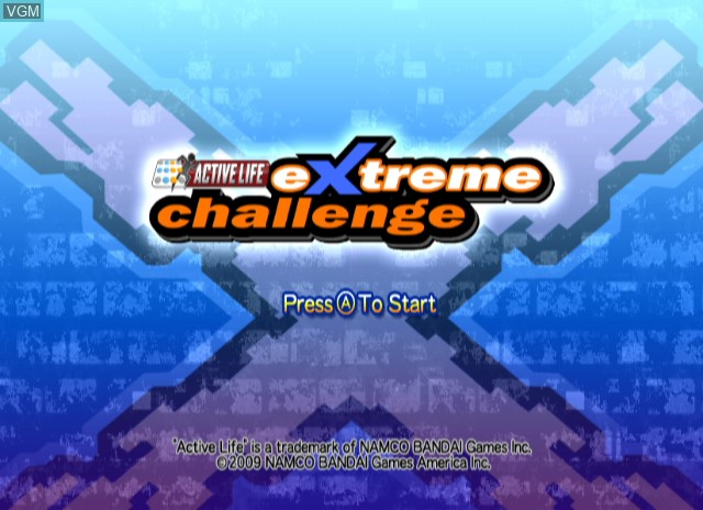 Title screen of the game Active Life - Extreme Challenge on Nintendo Wii