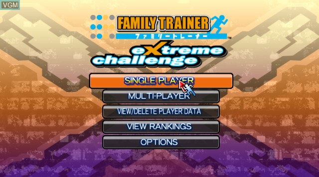 Menu screen of the game Family Trainer - Extreme Challenge on Nintendo Wii