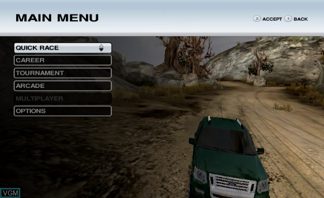 Menu screen of the game Off Road on Nintendo Wii