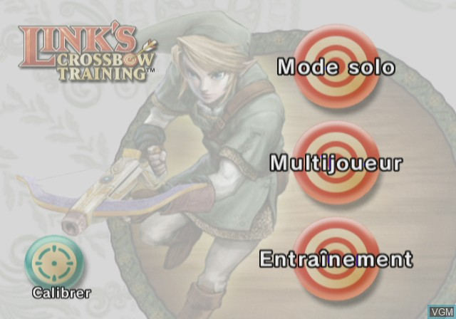 Menu screen of the game Link's Crossbow Training on Nintendo Wii