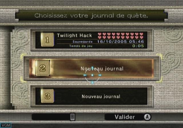 Menu screen of the game Legend of Zelda,The - Twilight Princess on Nintendo Wii