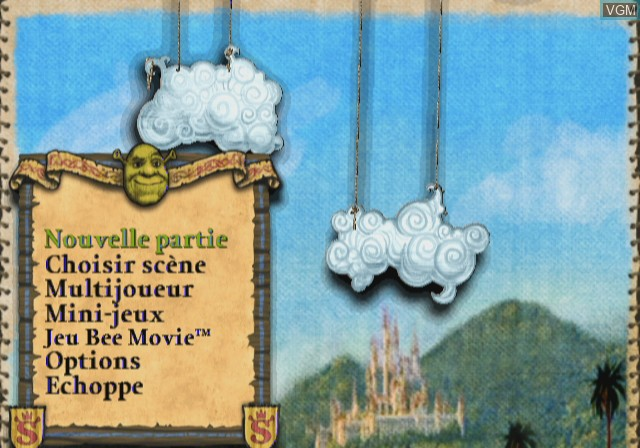 Menu screen of the game Shrek the Third on Nintendo Wii