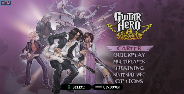 Menu screen of the game Guitar Hero - Aerosmith on Nintendo Wii