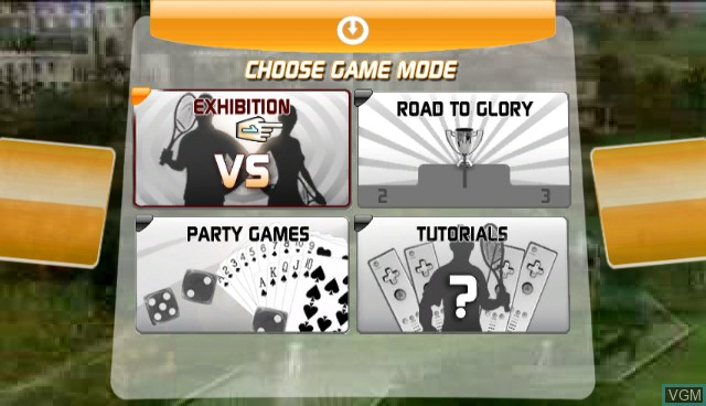 Menu screen of the game Top Spin 3 on Nintendo Wii