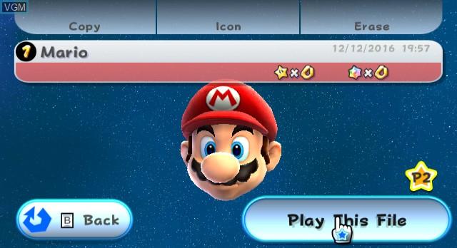 Menu screen of the game Super Mario Galaxy on Nintendo Wii