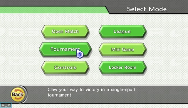 Menu screen of the game Sports Island on Nintendo Wii
